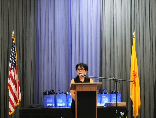 Law Enforcement Appreciation Committee Chairwoman Rocky Galassini speaks during the fifth annual Law Enforcement Appreciation Banquet Saturday, May 4.