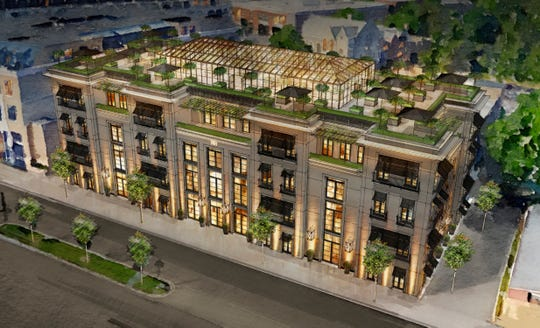 Aerial view rendering of the five-story building RH (Restoration Hardware) would occupy in Birmingham if voters approve a bond proposal in August.