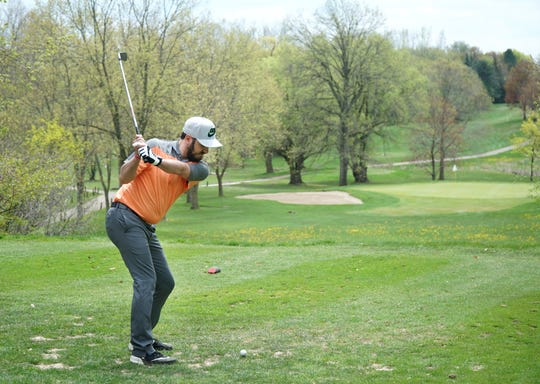 Chris Stambursky tees off a Plymouth's Hilltop on May 6, 2019.