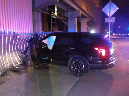Wood County sheriff's officials say a vehicle, driven by Cameron S. Allen, 25, of Nekoosa, crashed into a Domtar paper mill early Tuesday morning in Nekoosa.