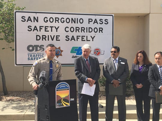 California Highway Patrol Capt. Mike Alvarez speaks during a May 6 news conference at the San Gorgonio headquarters. Officials discussed efforts to reduce highway fatalities in the area directly west of Palm Springs.