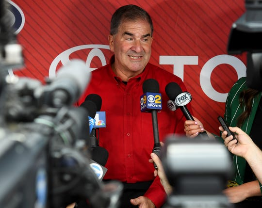 Los Angeles Angels of Anaheim Vice President of Communications Tim Mead answers questions for the media after it was announced he will depart the club following 40 seasons after being named the President of the National Baseball Hall of Fame and Museum at Angel Stadium of Anaheim on April 30, 2019 in Anaheim, California.
