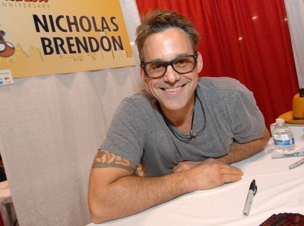 Actor Nicholas Brendon  attends the Motor City Comic Con on May 16, 2014, in Novi, Michigan. He is charged with assaulting a girlfriend in October 2017. He was formally charged in May 2019.