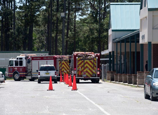 Escambia County Fire and Rescue responds Tuesday to a call reporting a structure fire at Ensley Elementary School.
