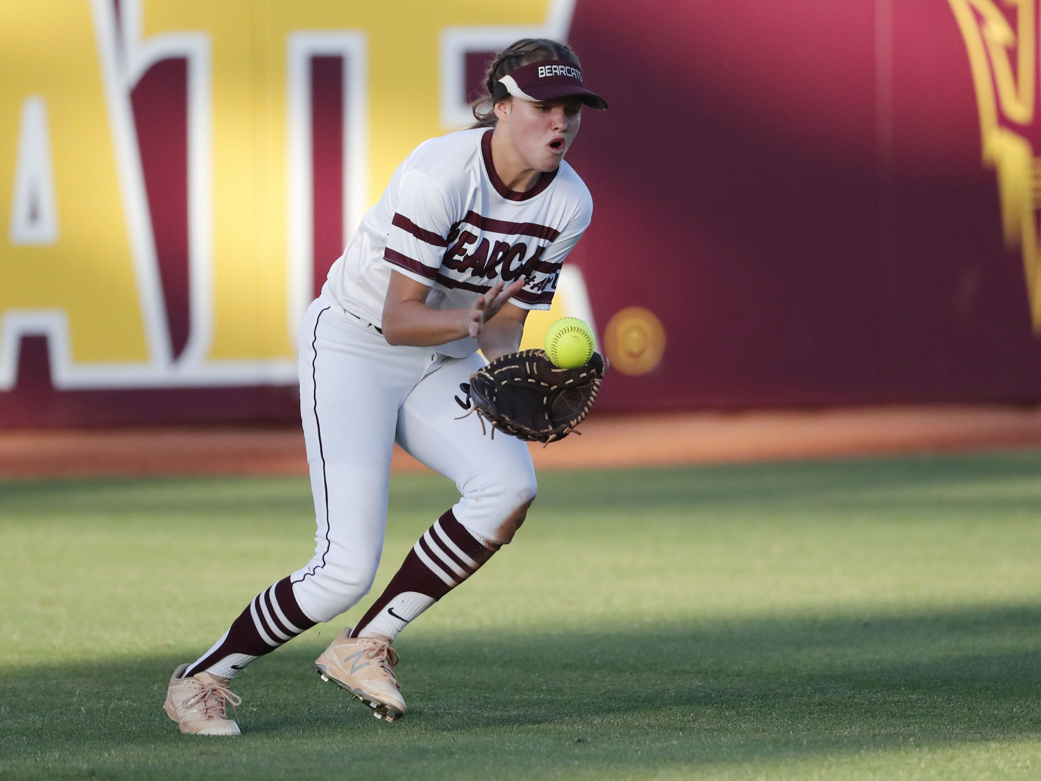 Ray center fielder Shelby Yocum (5) fields the ball against Superior during the 1A softball state championship game in Tempe May 6, 2019.