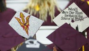 Grad cap designs during ASU's Undergraduate Commencement at Sun Devil Stadium in Tempe, Ariz. on May 6, 2019.