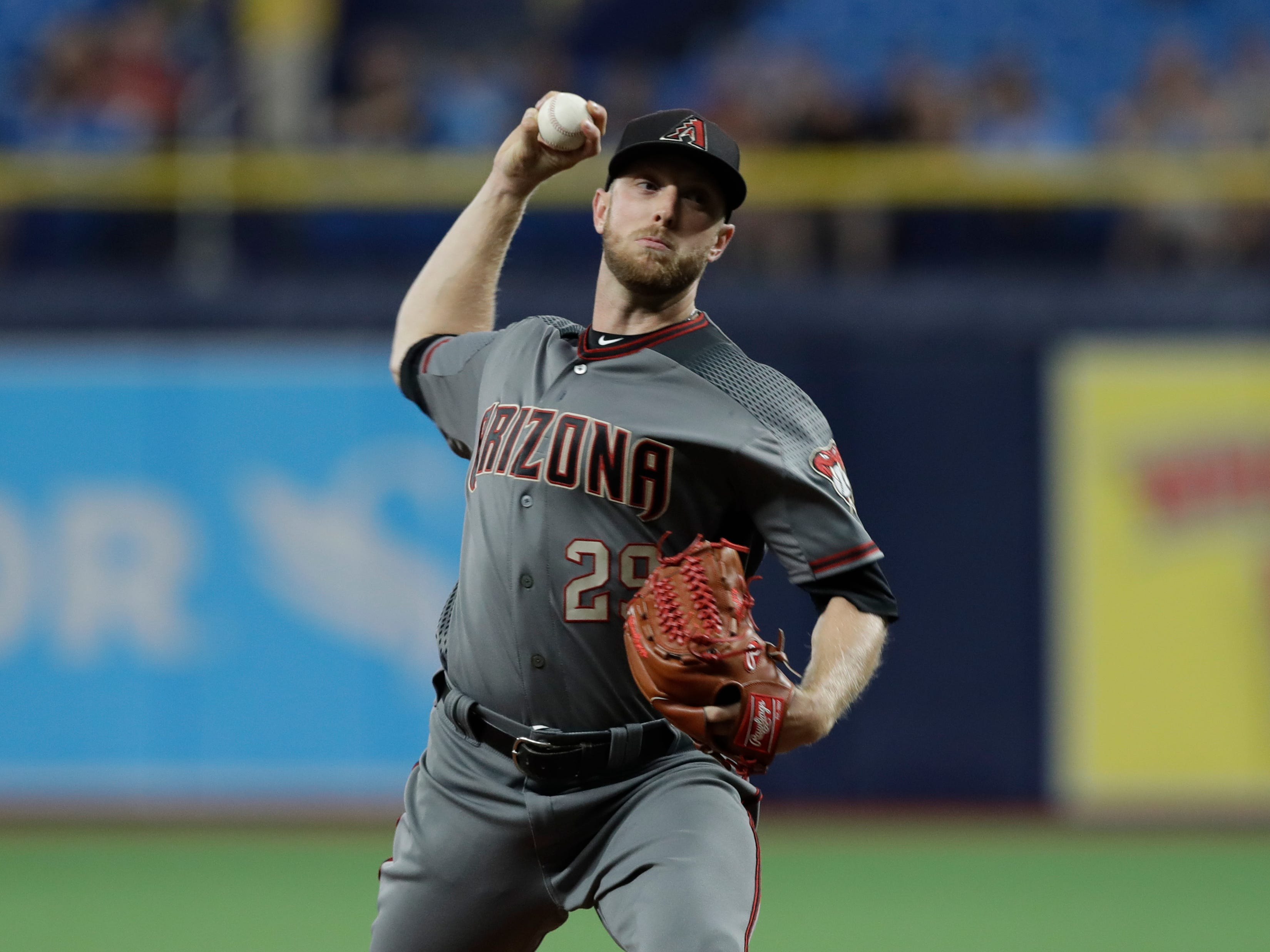 Arizona Diamondbacks starting pitcher Merrill Kelly during the first inning of a baseball game against the Tampa Bay Rays Monday, May 6, 2019, in St. Petersburg, Fla. (AP Photo/Chris O'Meara)