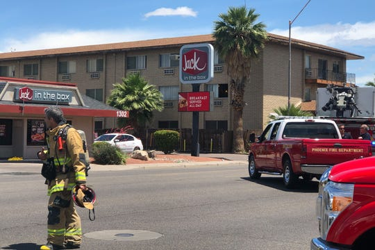 Phoenix firefighters attend to a natural-gas leak on May 7, 2019.