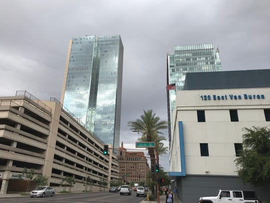 Dark clouds hover over downtown Phoenix on May 7, 2019.