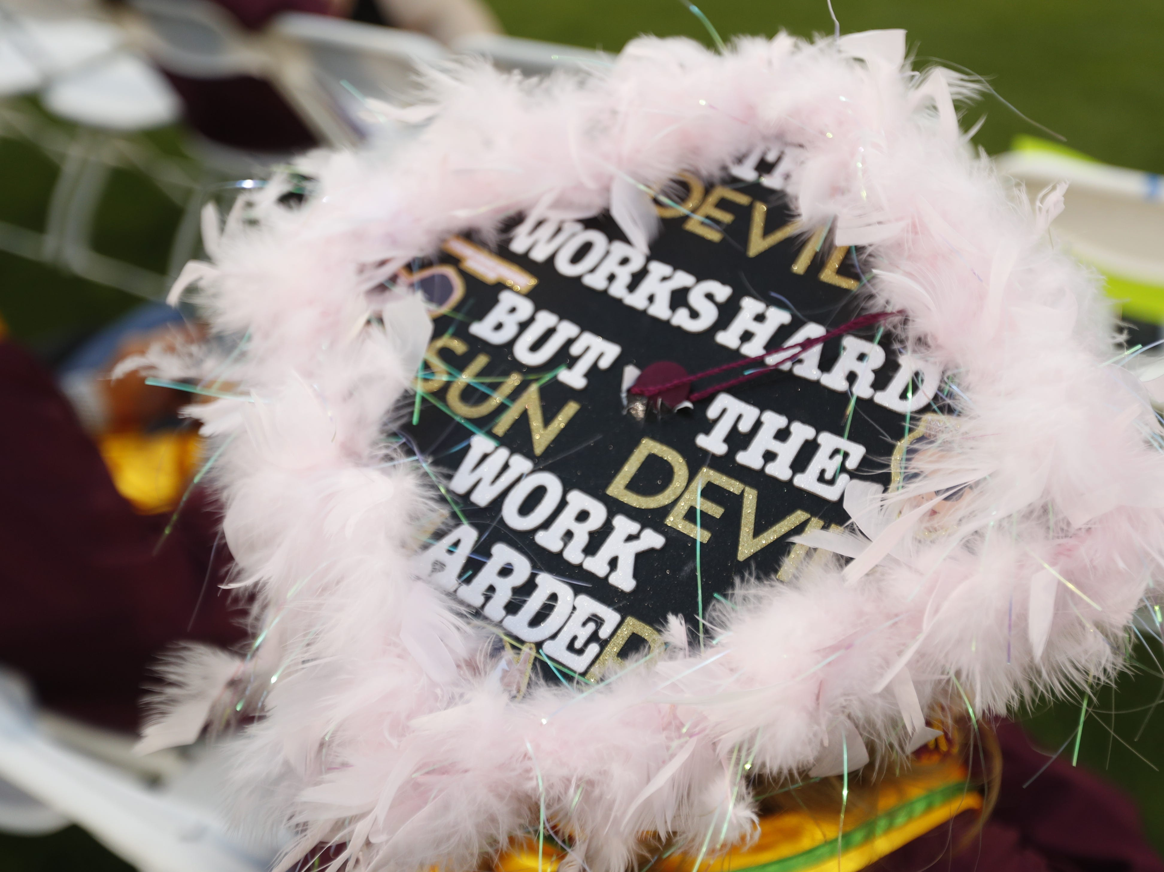 Grad cap designs during ASU's Undergraduate Commencement at Sun Devil Stadium in Tempe, Ariz. on May 6, 2019.