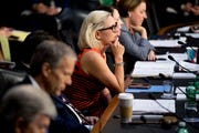 Sen. Kyrsten Sinema, D-Ariz., listens during a Senate Transportation subcommittee hearing on commercial airline safety on Capitol Hill on March 27, 2019, in Washington.