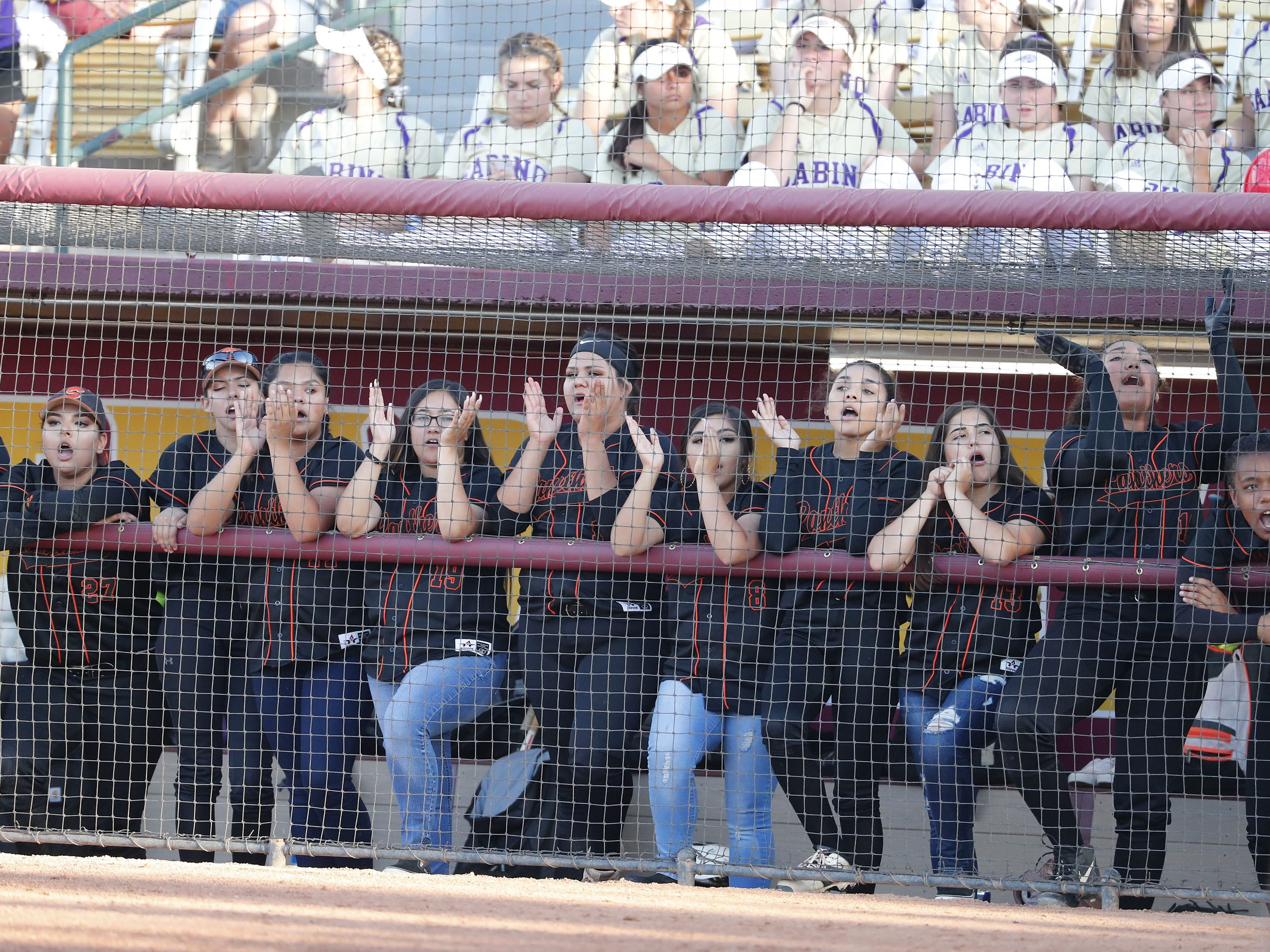 Superior players cheer during the 1A softball state championship game against Ray in Tempe May 6, 2019.