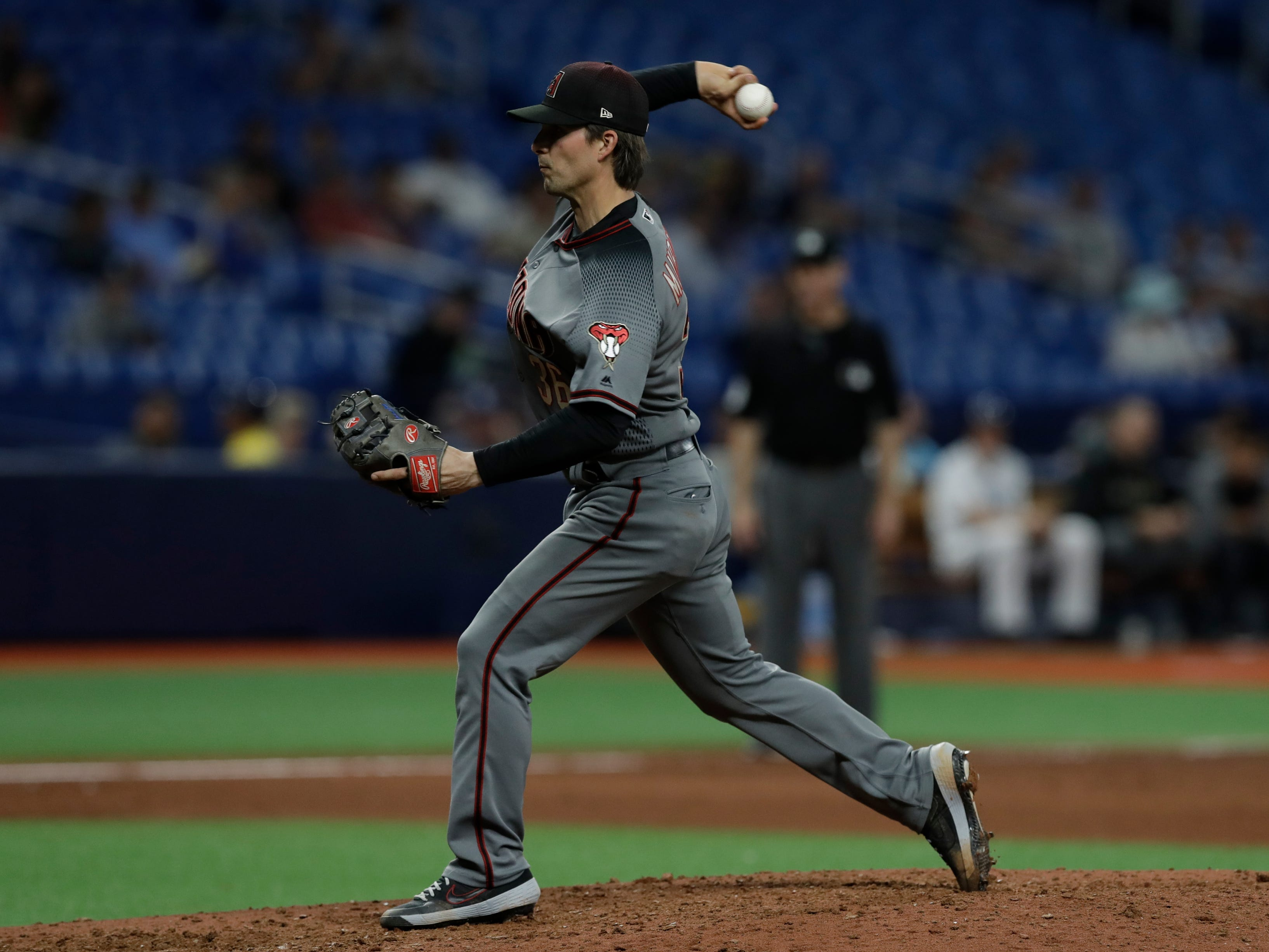Arizona Diamondbacks catcher John Ryan Murphy pitches to the Tampa Bay Rays during the eighth inning of a baseball game Monday, May 6, 2019, in St. Petersburg, Fla. (AP Photo/Chris O'Meara)