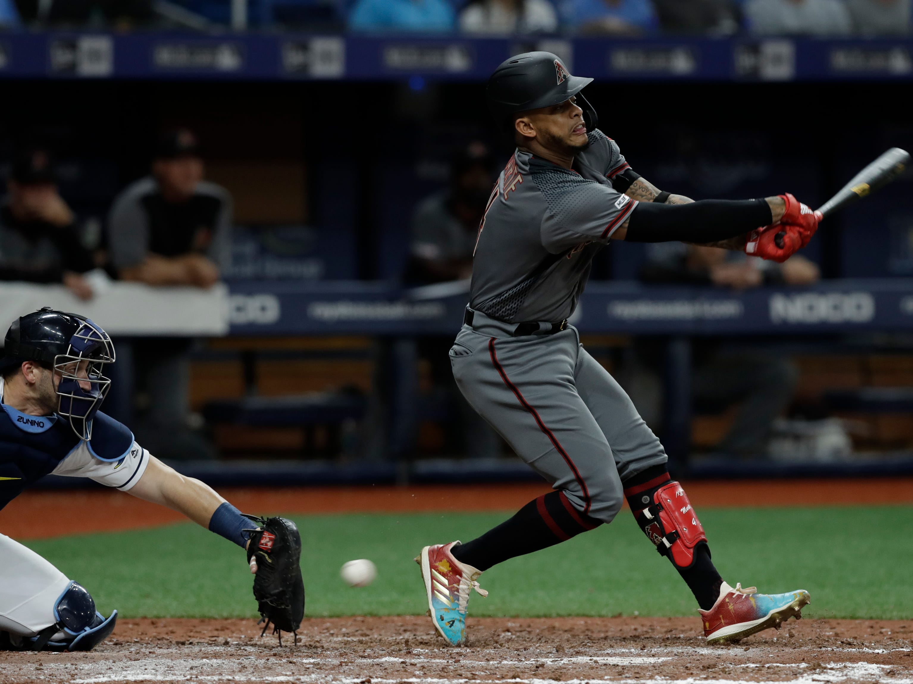 Arizona Diamondbacks' Ketel Marte misses a pitch from Tampa Bay Rays' Blake Snell during the sixth inning of a baseball game Monday, May 6, 2019, in St. Petersburg, Fla. (AP Photo/Chris O'Meara)