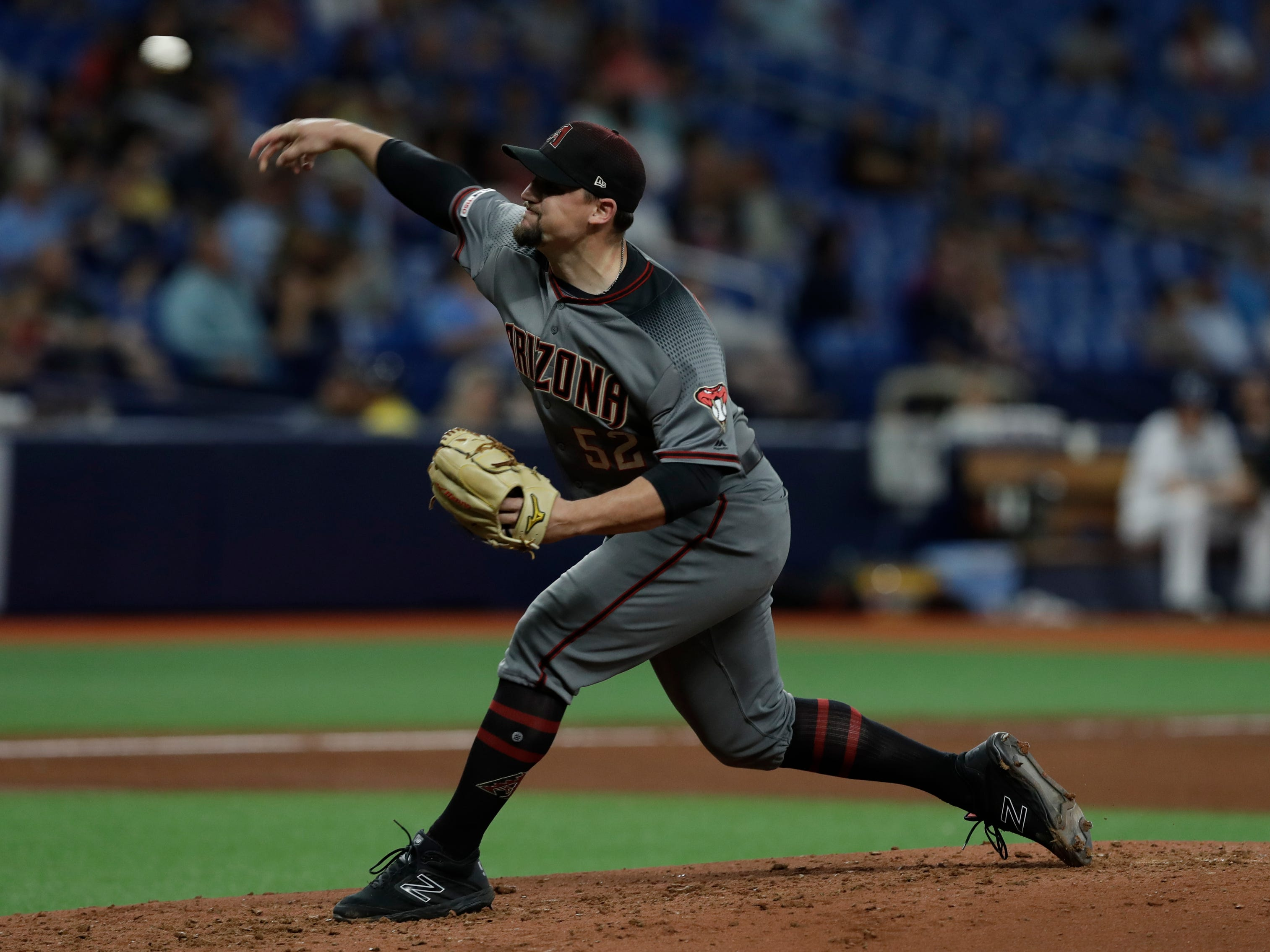Arizona Diamondbacks pitcher Zack Godley during the fourth inning of a baseball game against the Tampa Bay Rays Monday, May 6, 2019, in St. Petersburg, Fla. (AP Photo/Chris O'Meara)