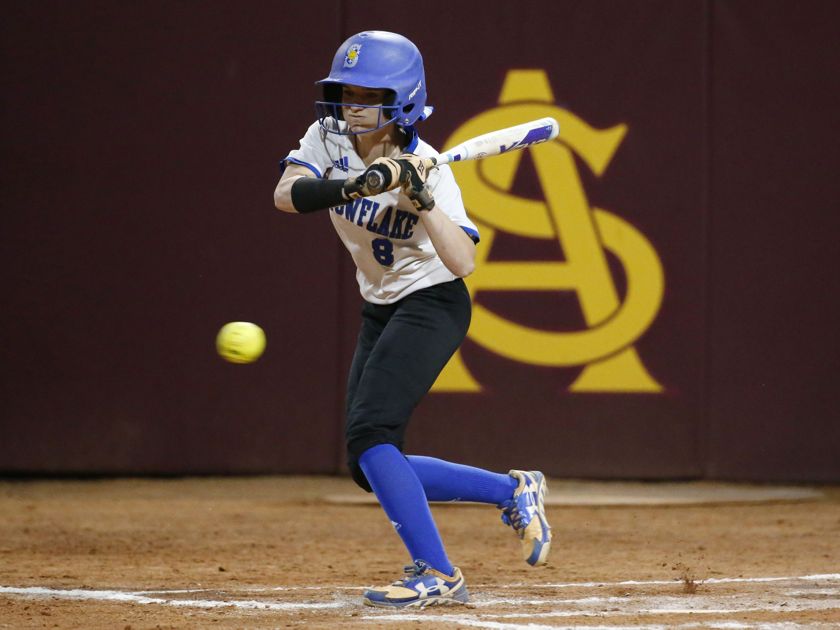 Snowflake center fielder Kaylee Thomas (8) watches strike three against Sabino during the 3A softball state championship game in Tempe May 6, 2019.
