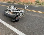 The Honda Valkyrie motorcycle after deflecting from a guardrail and colliding with a van on Cornville Road Sunday afternoon.