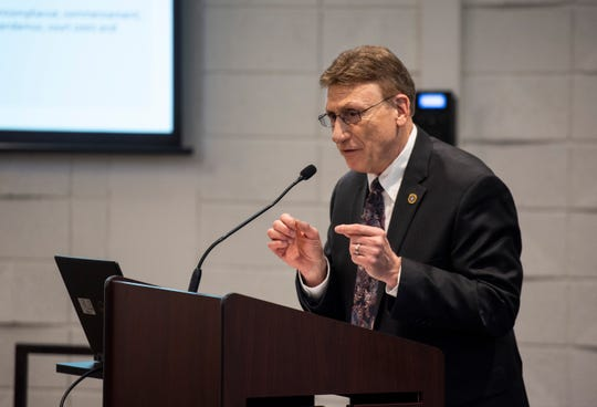 Tom Quasarano, assistant attorney general, answers questions during a FOIA and OMA seminar Tuesday, May 7, 2019 in an auditorium at SC4.