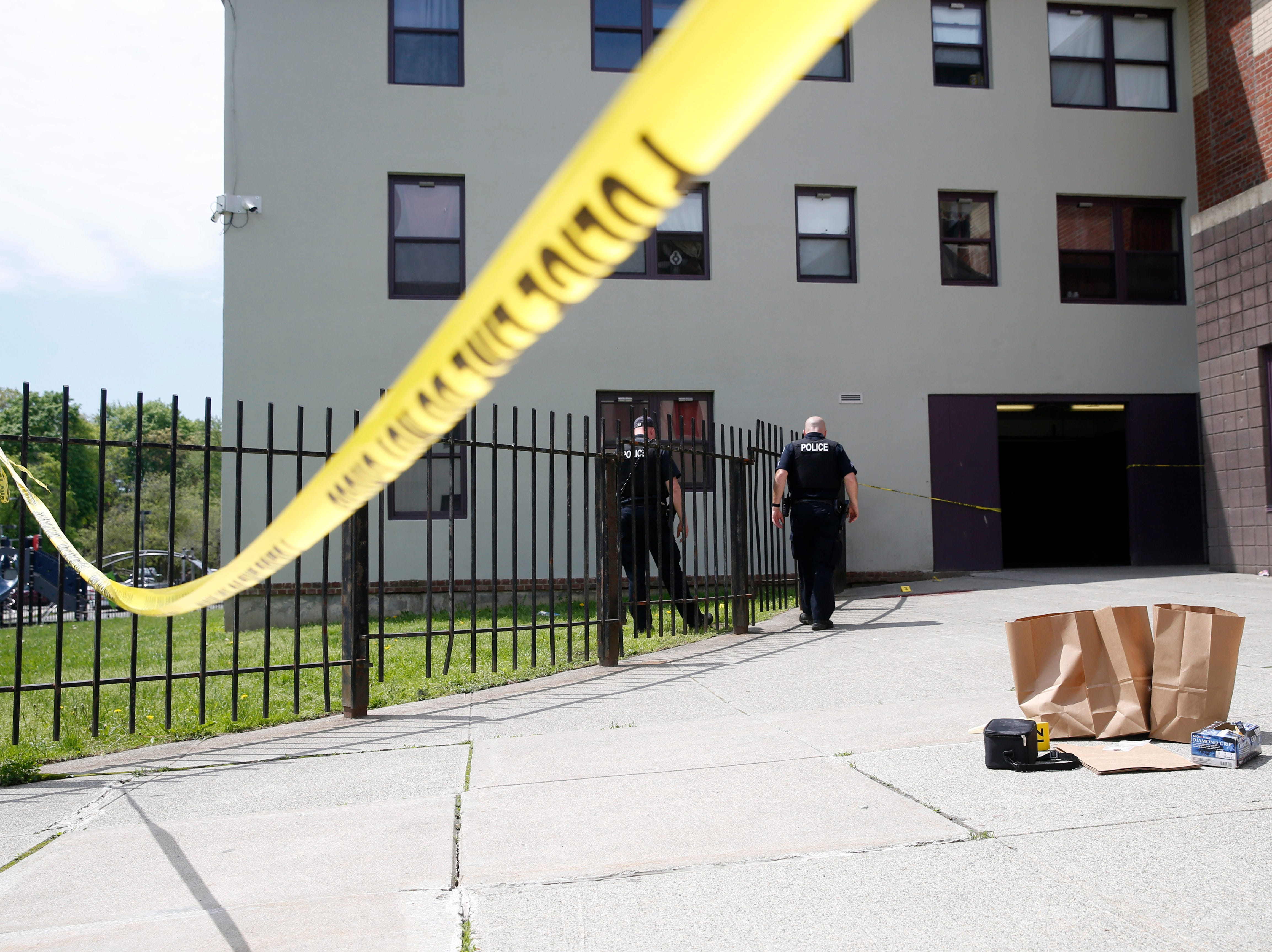 City Police investigate a shooting that occurred at the Hudson Gardens Apartments in the City of Poughkeepsie on May 7, 2019.