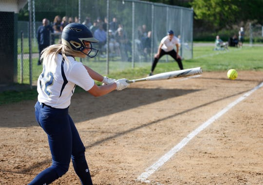 Lourdes' Alyssa Profanato at bat during Monday's game versus Lakeland in the Town of Poughkeepsie on May 6, 2019.