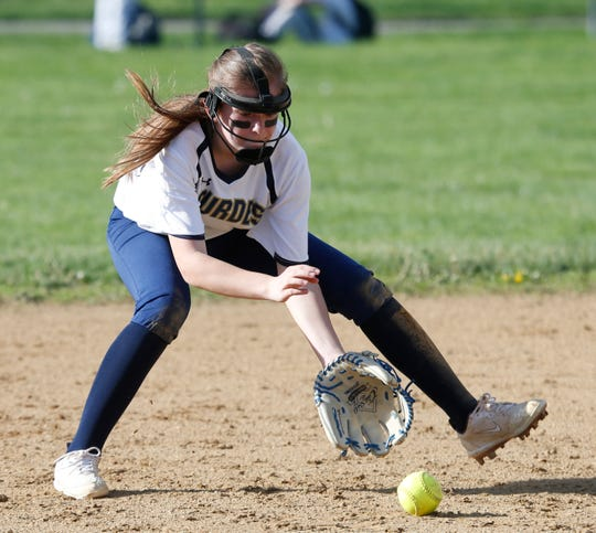 Lourdes' Elaina Wagner fields a ball hit by Lakeland's Amanda DiClerico during Monday's game in the Town of Poughkeepsie on May 6, 2019.