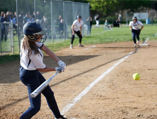 Sam Gentile bats in a softball game between Lourdes and Lakeland in the Town of Poughkeepsie on May 6, 2019.