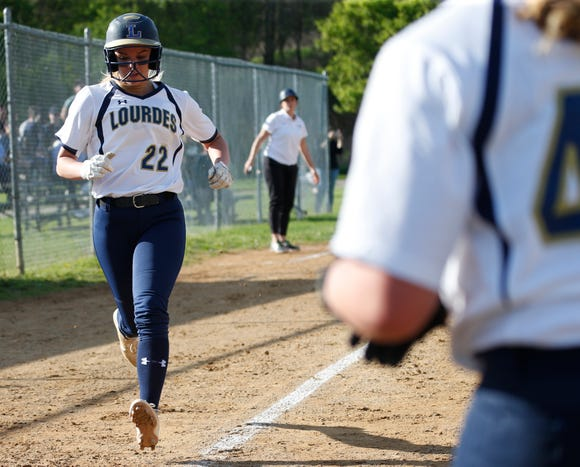 Lourdes' Alyssa Profanato makes her way down the third base line to home plate during Monday's game versus Lakeland in the Town of Poughkeepsie on May 6, 2019.