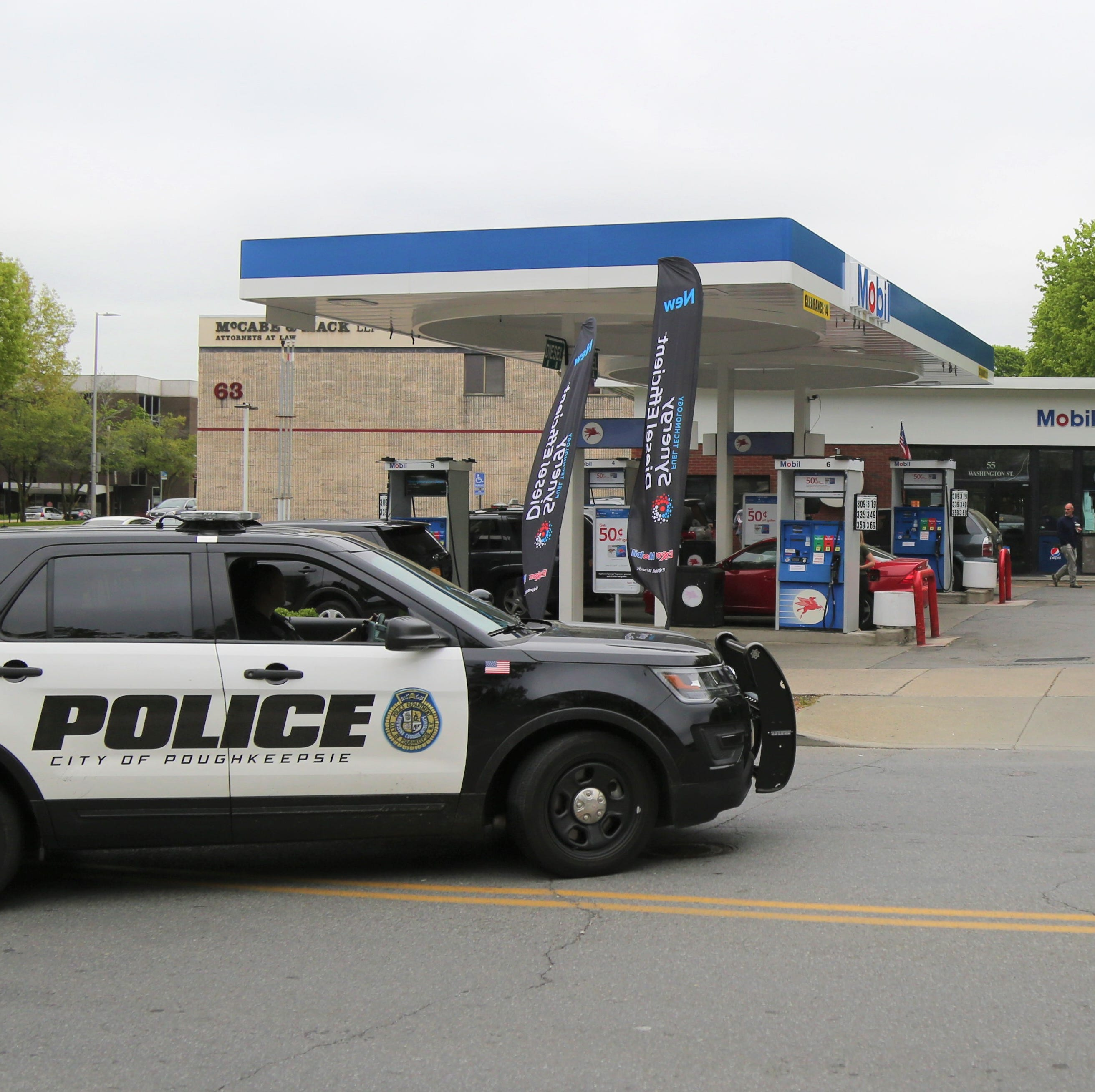 A 24-year-old Mobil gas station employee was stabbed early Tuesday morning on May 5, 2019. This photo was taken several hours following the altercation.