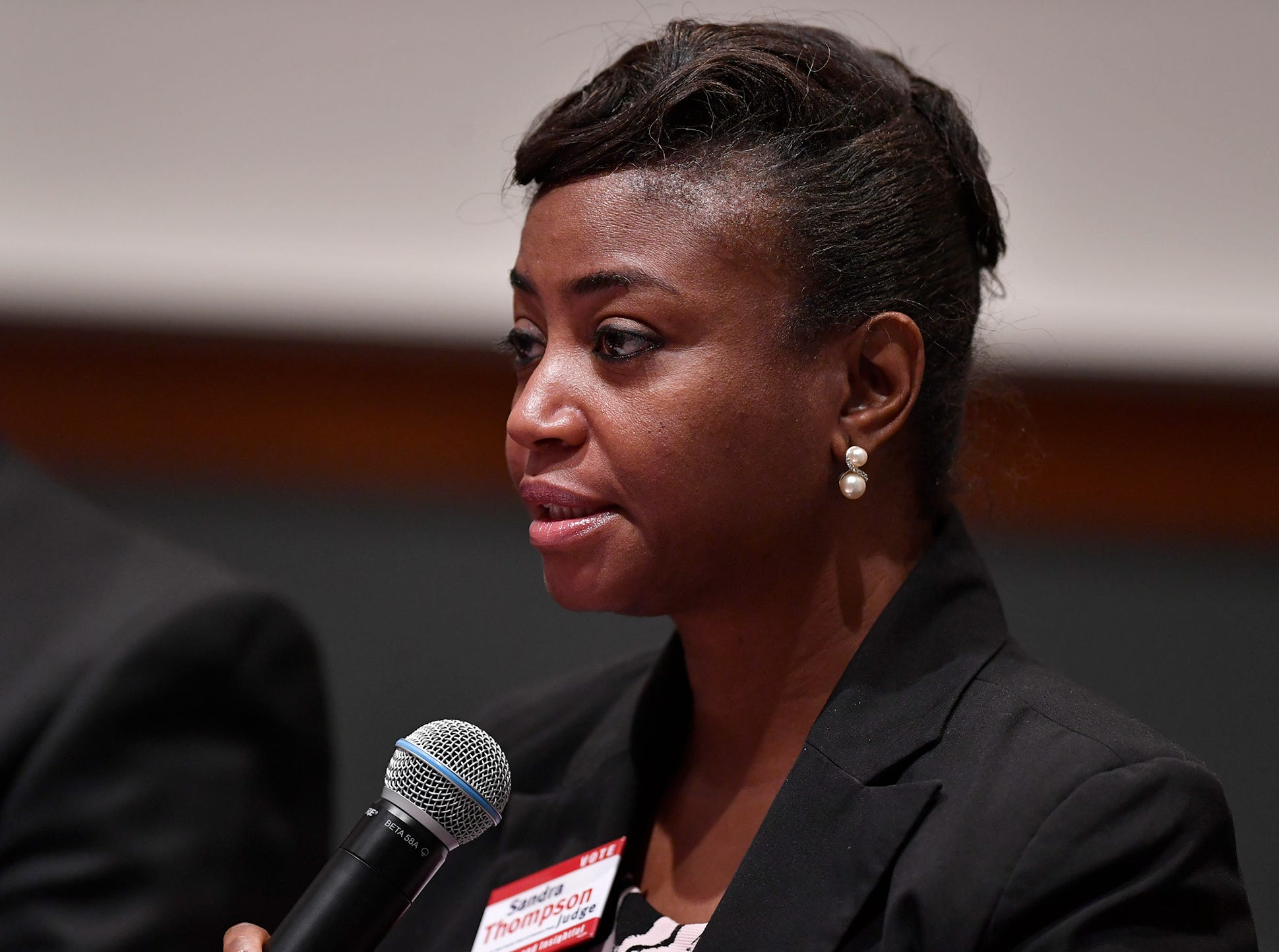 Sandra Thompson, (D) candidate for Judge Court of Common Pleas, takes part in the York Stands Up bipartisan countywide candidates forum in the Weinstock Lecture Hall inside the Willman Business Center at York College, Monday, May 6, 2019.John A. Pavoncello photo