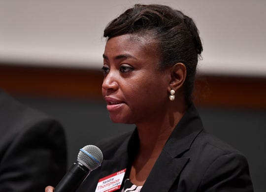 Sandra Thompson, (D) candidate for Judge Court of Common Pleas, takes part in the York Stands Up bipartisan countywide candidates forum in the Weinstock Lecture Hall inside the Willman Business Center at York College, Monday, May 6, 2019.