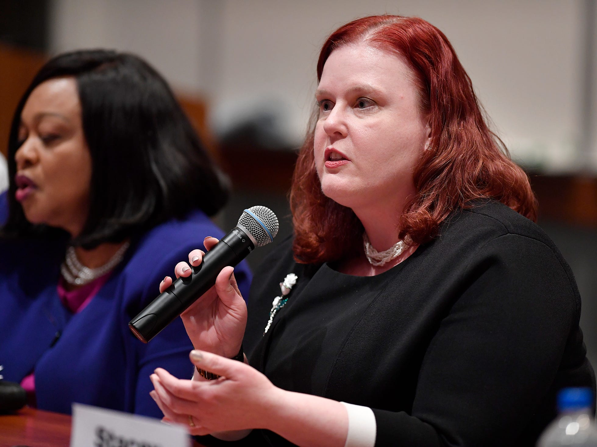 Christina Stetler (D) candidate for Prothonotary, takes part in the York Stands Up bipartisan countywide candidates forum in the Weinstock Lecture Hall inside the Willman Business Center at York College, Monday, May 6, 2019.John A. Pavoncello photo