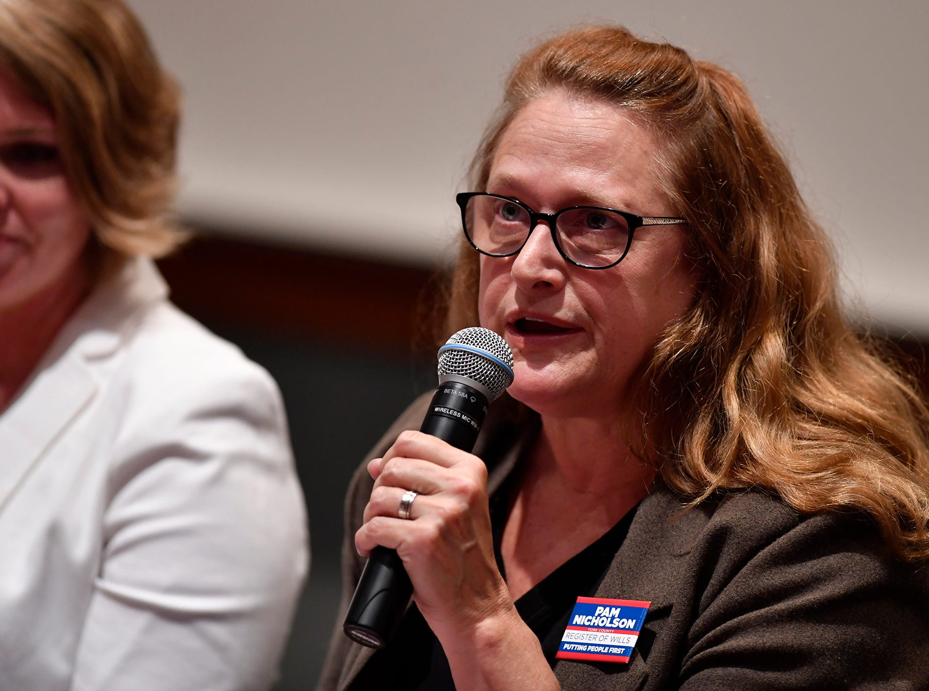 Pam Nicholson (D) candidate for Clerk of Orphans Court/Register of Wills, take part in the York Stands Up bipartisan countywide candidates forum in the Weinstock Lecture Hall inside the Willman Business Center at York College, Monday, May 6, 2019.John A. Pavoncello photo