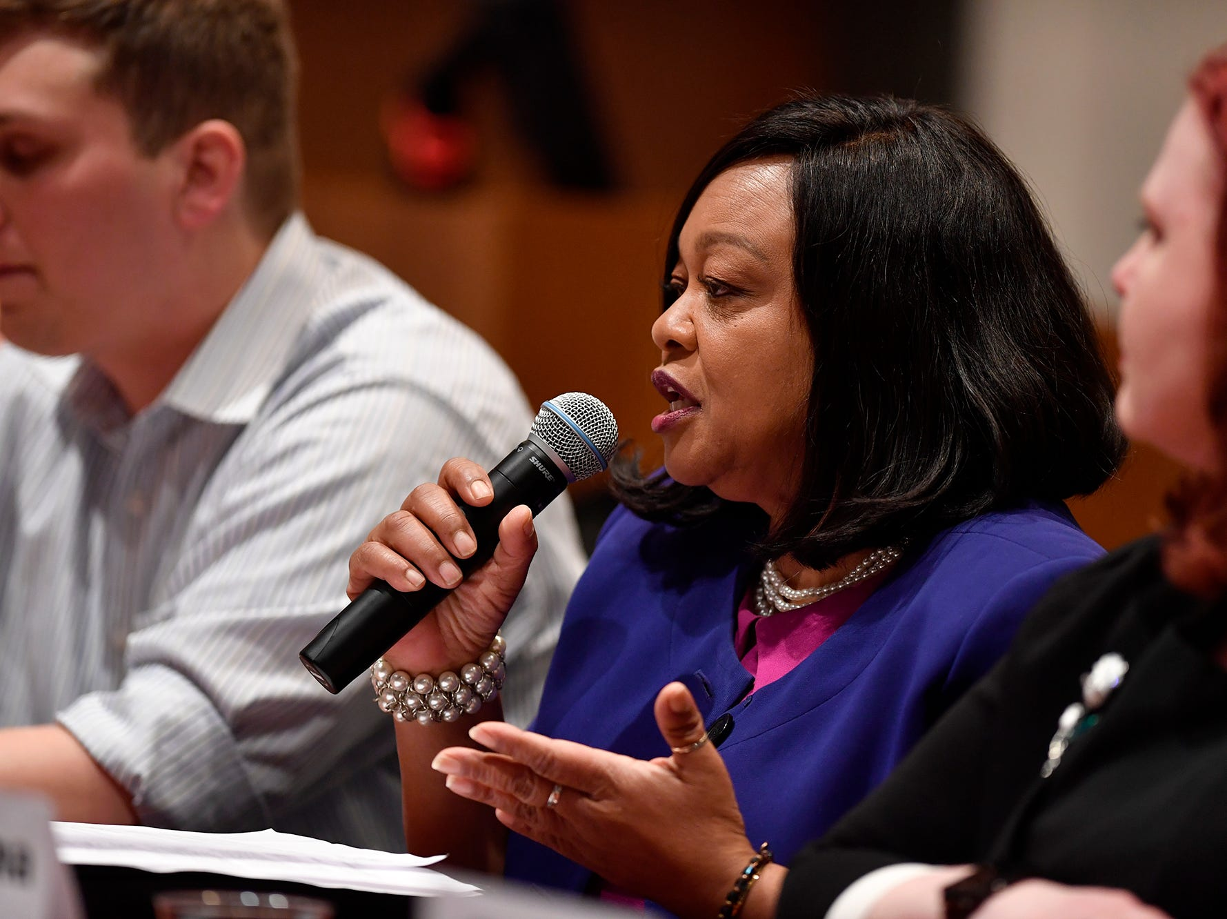Sandra Harrison (D) candidate for Prothonotary, takes part in the York Stands Up bipartisan countywide candidates forum in the Weinstock Lecture Hall inside the Willman Business Center at York College, Monday, May 6, 2019.John A. Pavoncello photo