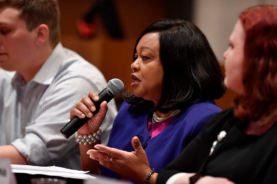 Sandra Harrison (D) candidate for Prothonotary, takes part in the York Stands Up bipartisan countywide candidates forum in the Weinstock Lecture Hall inside the Willman Business Center at York College, Monday, May 6, 2019.