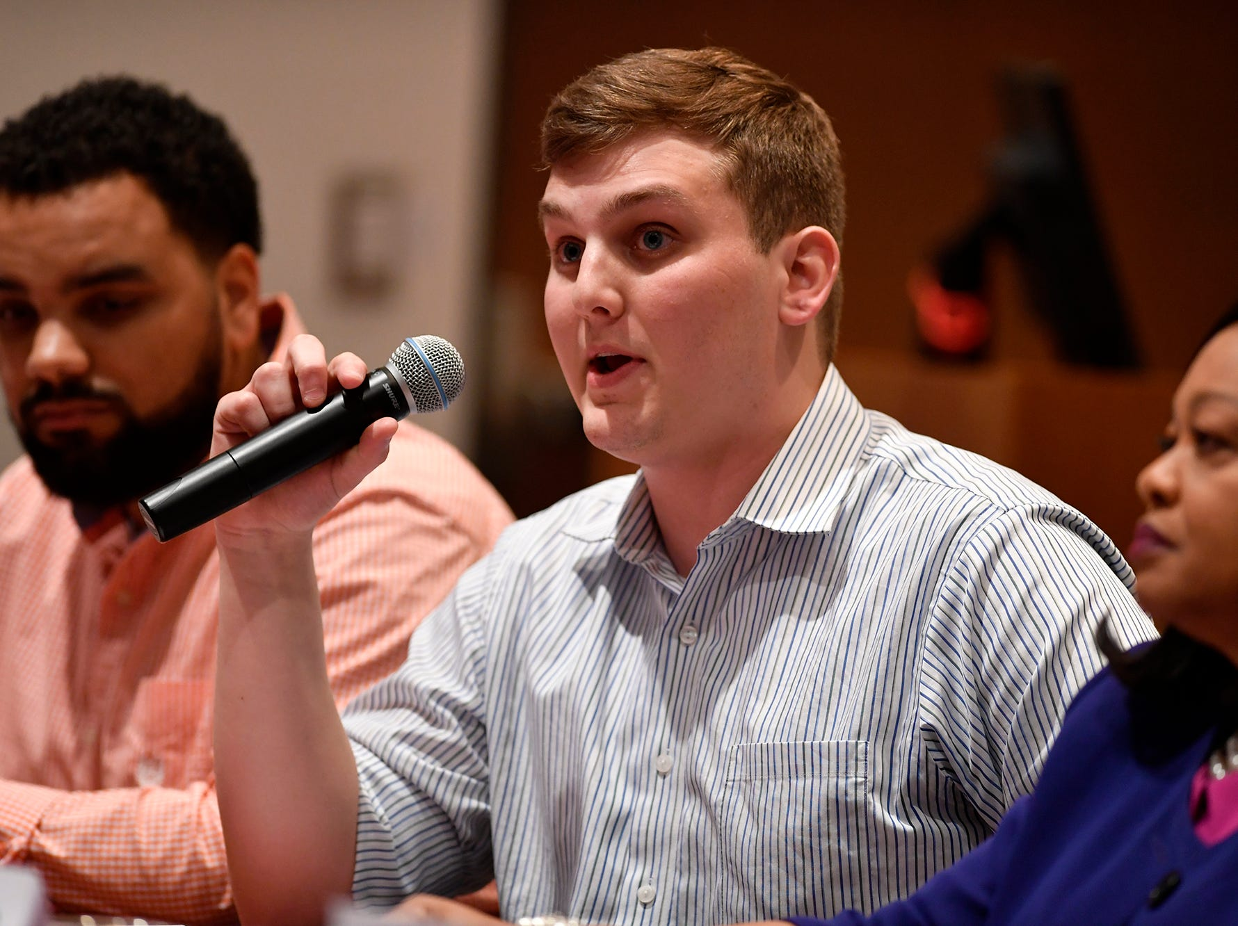 Matthew Anderson (D) candidate for Prothonotary, takes part in the York Stands Up bipartisan countywide candidates forum in the Weinstock Lecture Hall inside the Willman Business Center at York College, Monday, May 6, 2019.John A. Pavoncello photo