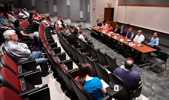 York Stands Up holds a bipartisan countywide candidates forum in the Weinstock Lecture Hall inside the Willman Business Center at York College, Monday, May 6, 2019.