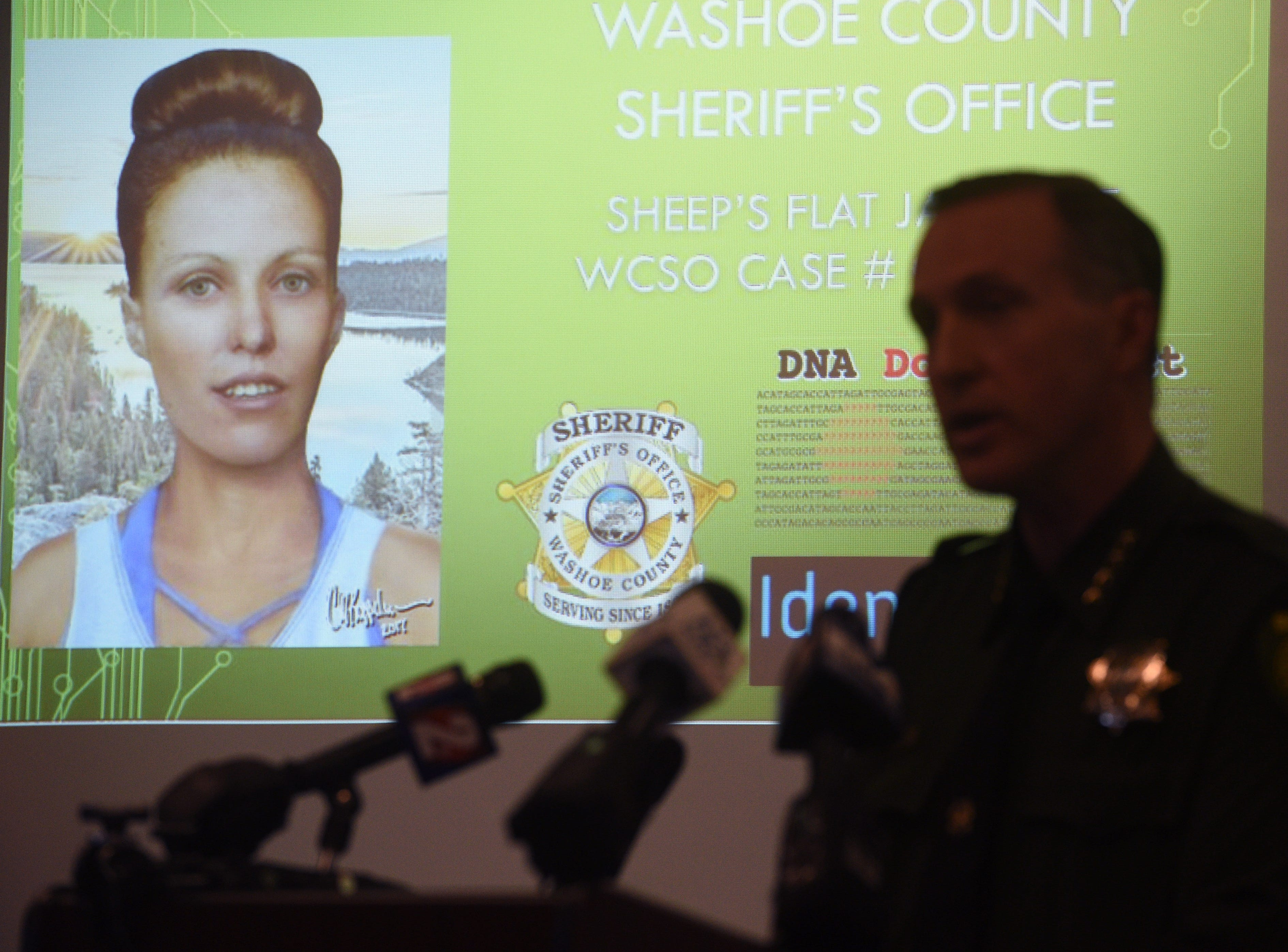 Sheriff Darin Balaam speaks during a press conference at the Washoe County Sheriff's headquarters in Reno on May 7, 2019.  The department recently solved the cold case homicide of Mary Silvani.