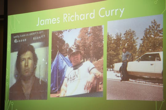 Photos of murder suspect James Richard Curry are displayed during a press conference at the Washoe County Sheriff's headquarters in Reno on May 7, 2019. Curry killed Mary Silvani in 1982.