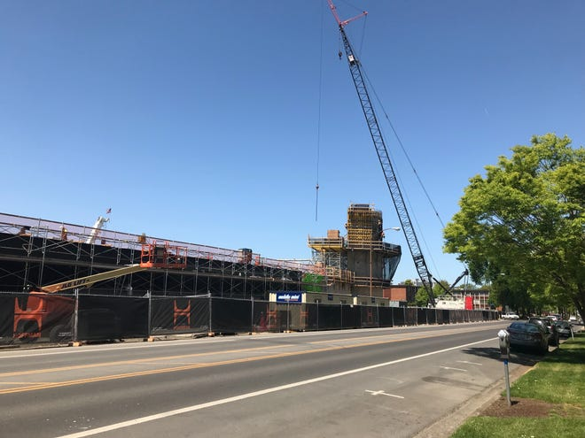 Construction on the new Hayward Field project continues May 6 at the University of Oregon.