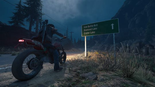 "A road sign as seen in ""Days Gone,"" a PlayStation 4 video game that released in April."