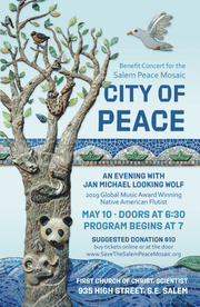 Native American flutist Jan Michael Looking Wolf will perform a benefit concert for Salem Peace Mosaic at 7 p.m. Friday, May 10, at First Church of Christ Scientist.