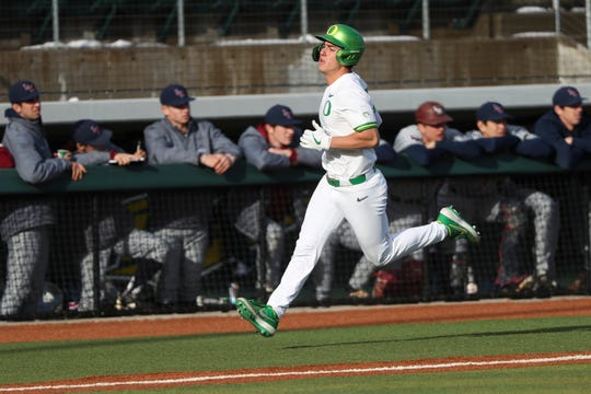 Oregon's Aaron Zavala competes for the Ducks baseball team. The freshman is a South Salem High School graduate.
