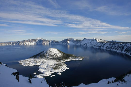 Crater Lake National Park is among the snowiest inhabited places in North America.