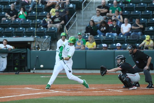 Oregon's Gabe Matthews competes for the Ducks baseball team. The junior is a South Salem High School graduate.