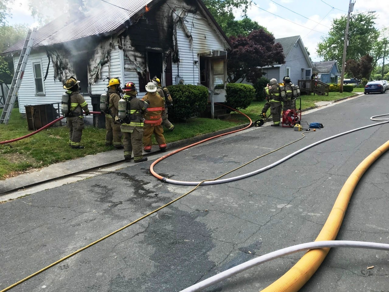 FIrefighters battled a blaze at this residence on Watson Street in Onancock, Virginia on Monday, May 6, 2019.