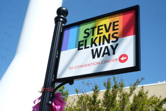 Steve Elkins Way, named after the late co-founder of CAMP Rehoboth, was unveiled in Rehoboth Beach on May 4.