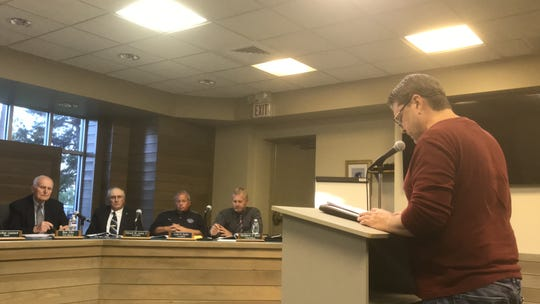 Daryl Chrisman speaks at a public hearing about food truck regulations at the Chincoteague Town Council meeting on Monday, May 6, 2019 in Chincoteague, Virginia.