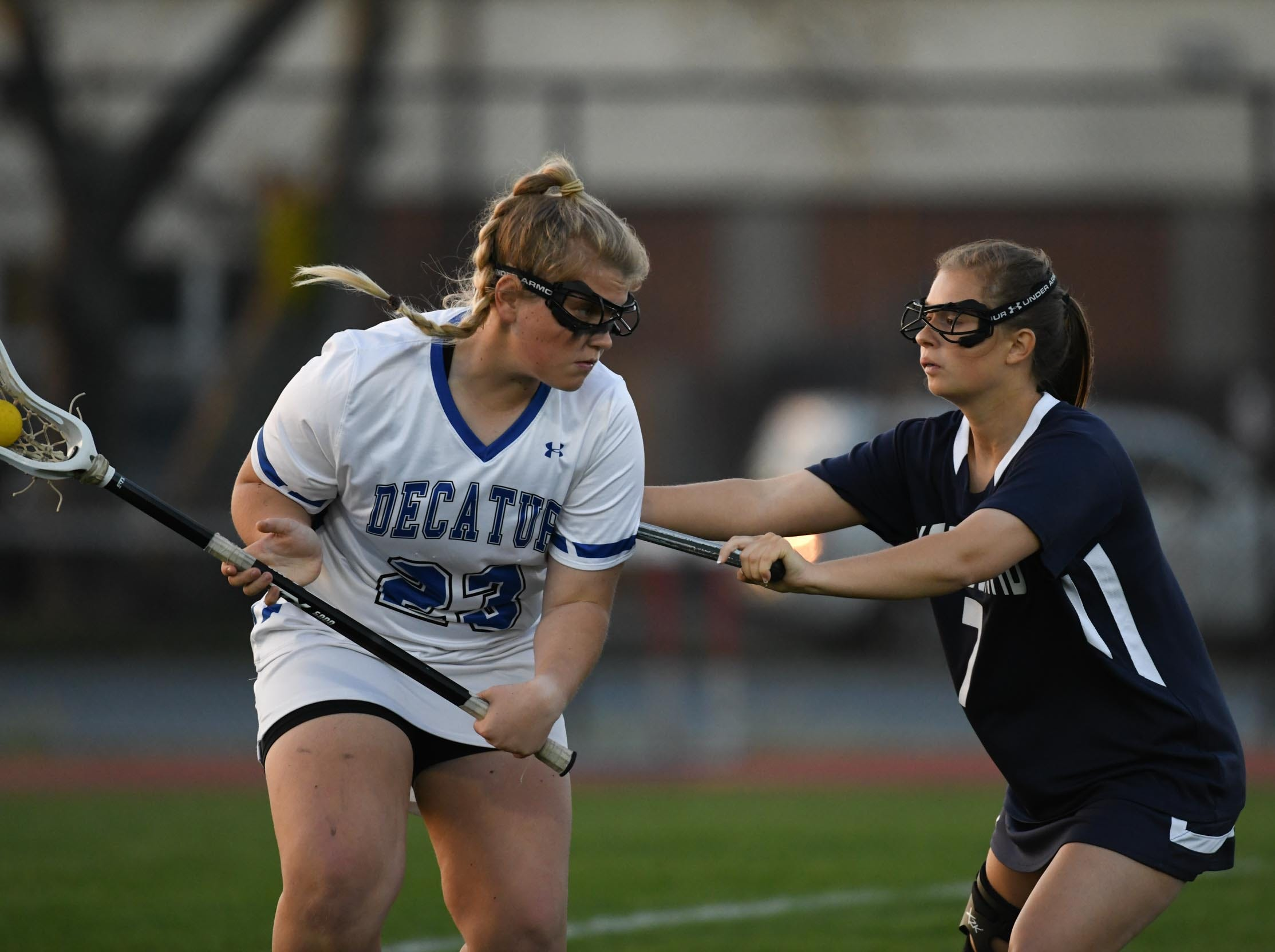Stephen Decatur's Brittyn Lyra Leonard with the ball against Kent Island during the Bayside Championship on Monday, May 6, 2019 at Wicomico County Stadium in Salisbury, Md.
