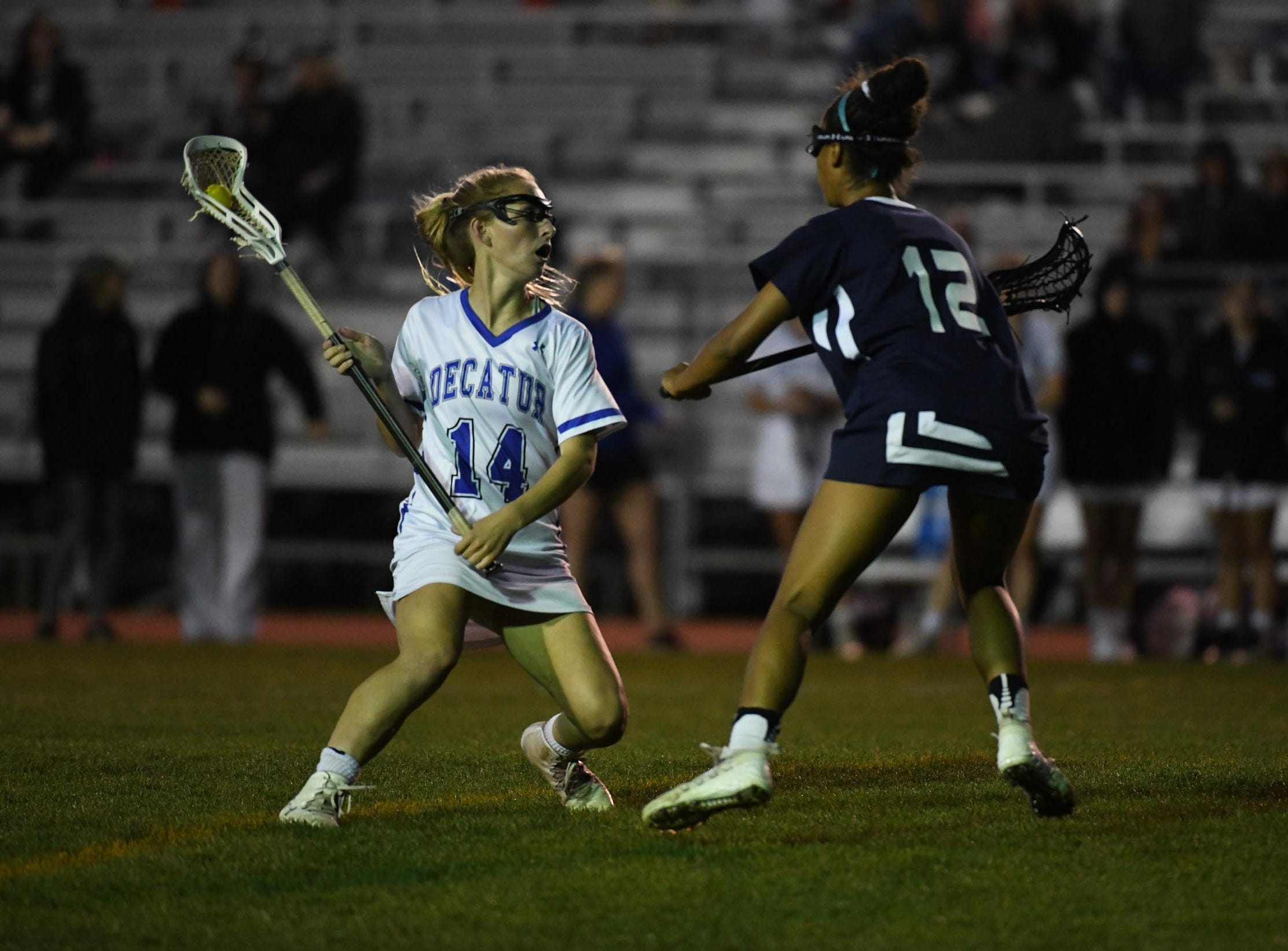 Stephen Decatur's Tori Mueller drives towards the goal against Kent Island during the Bayside Championship on Monday, May 6, 2019 at Wicomico County Stadium in Salisbury, Md.