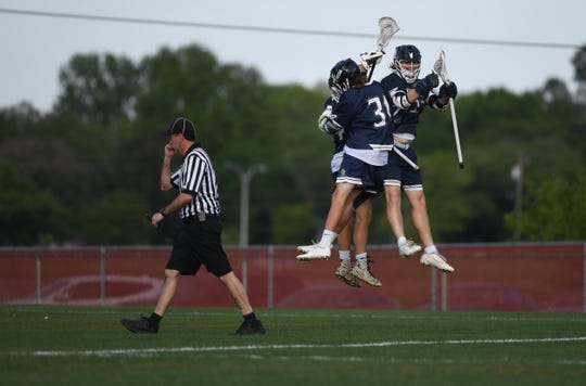 Kent Island celebrates after a goal against Bennett during the Bayside Championship on Monday, May 6, 2019 at Wicomico County Stadium in Salisbury, Md.